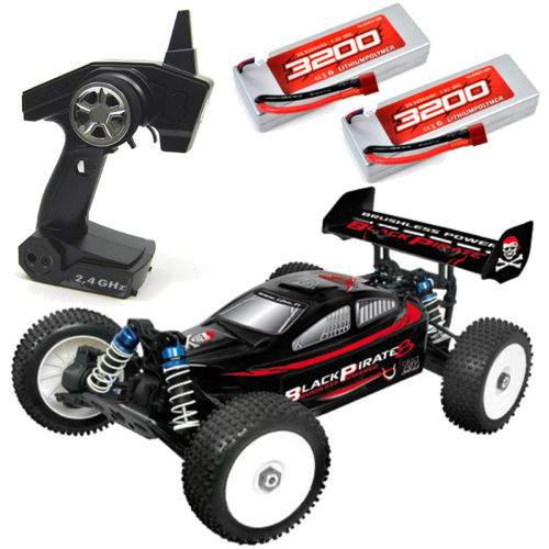 T2M Black Pirate 8 Buggy 2,4 GHz 2x LiPo Akku T4903A
