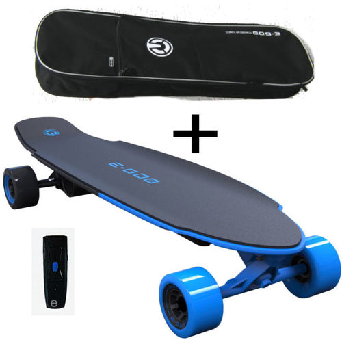 Yuneec E-GO 2 Elektro Skateboard Long Board Royal Wave blau Tasche