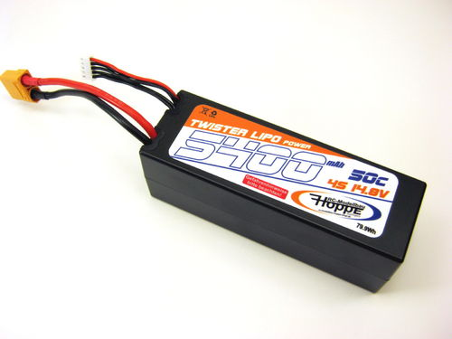 Lipo Akku 4S 14,8V 50C 5400 mAh XT-90 Stecker Power Racing C-49012-X-Hoppe