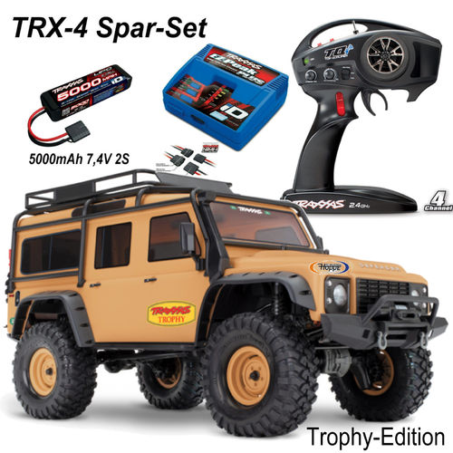 TraxxasTRX-4 Land Rover Sand matt Limited Trophy-Edition + 5000 mAh Lipo 2S + Traxxas Lader