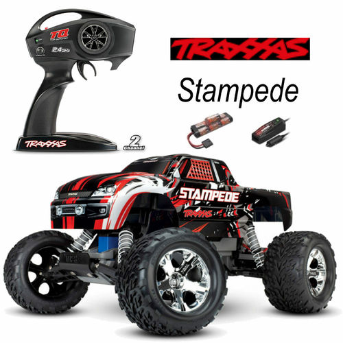TRAXXAS Stampede rot-X RTR +12V-Lader+Akku 1/10 2WD Monster Truck Brushed